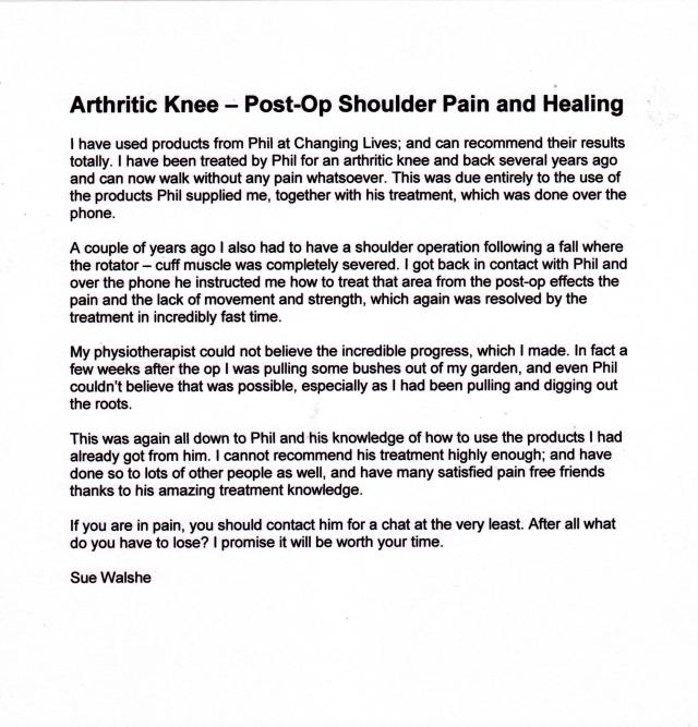 Sue Walshe - Arthritis and Shoulder Injury